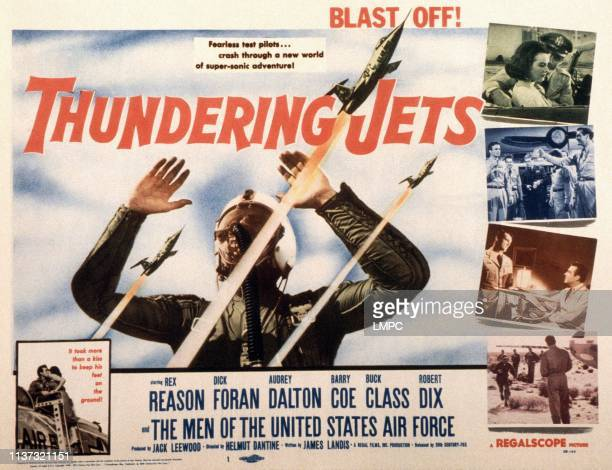 Thundering Jets poster US poster top right Audrey Dalton Rex Reason second from bottom right from left Barry Coe Rex Reason 1958
