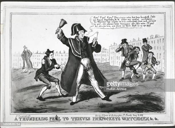'A Thundering Peel To Thieves Pickpockets Watchmen c c' a cartoon of a town crier and a pickpocket referencing Robert Peel's Metropolitan Police Act...