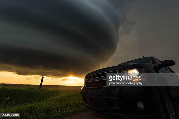 Thunderstorm at sunset, Nebraska.