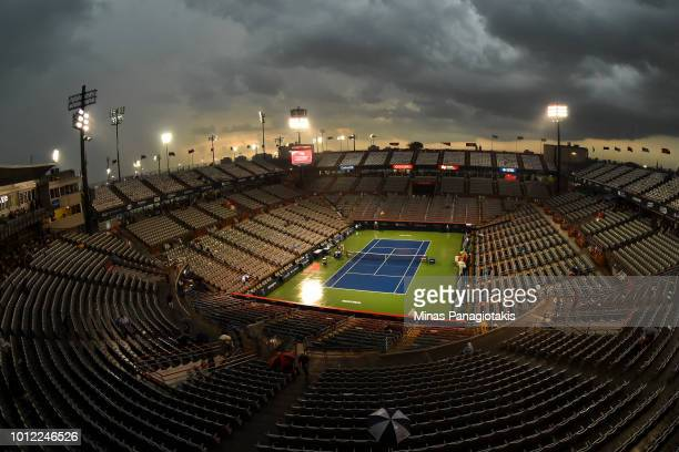 A thunderstorm causes a game stoppage on centre court during day one of the Rogers Cup at IGA Stadium on August 6 2018 in Montreal Quebec Canada