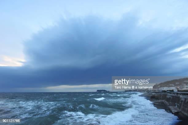 Thunderstorm clouds on Sagami Bay and Enoshima Island in Kanagawa prefecture in Japan