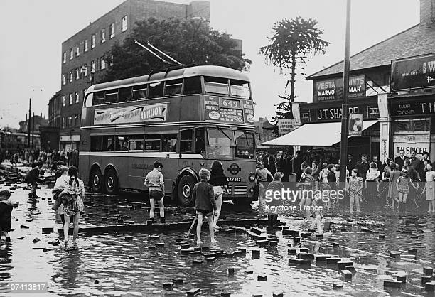 Thunderstorm Forces Up Road Blocks After Heavy Rainfall In Edmonton In London On June 8Th 1950