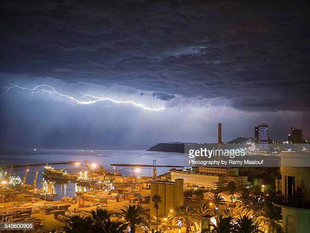 thunderstorm in algeria - oran algeria photos et images de collection