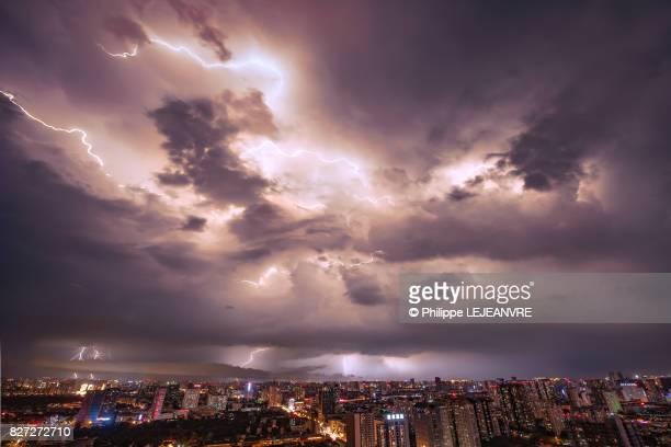 Thunderstorm in the sky of Chengdu