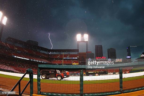A thunderstorm moves in over St Louis prior to an interleague game between the St Louis Cardinals and the Chicago White Sox at Busch Stadium on July...