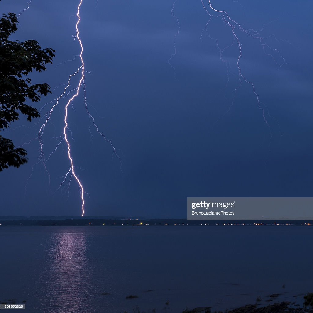 Thunderstorm on the River : Stock Photo