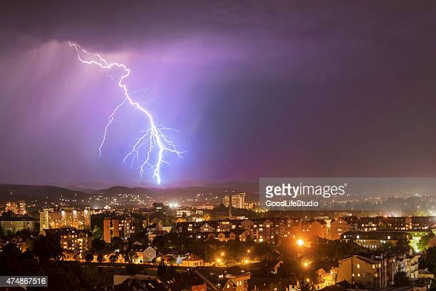 Thunderstorm over a city
