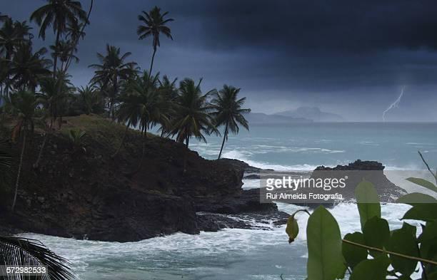 Thunderstorm over equator line island