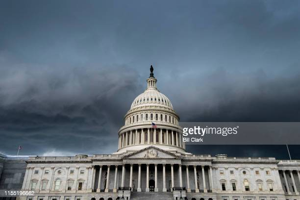 A thunderstorm passes over the US Capitol building on Thursday July 11 2019