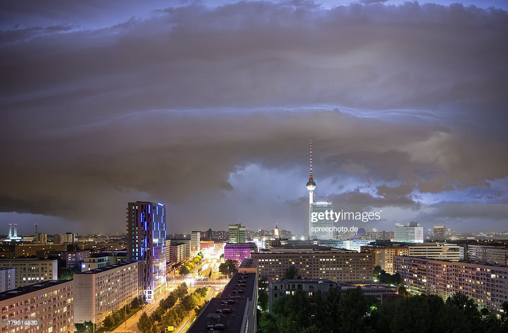 Thunderstorm with Berlin Skyline : Stock Photo