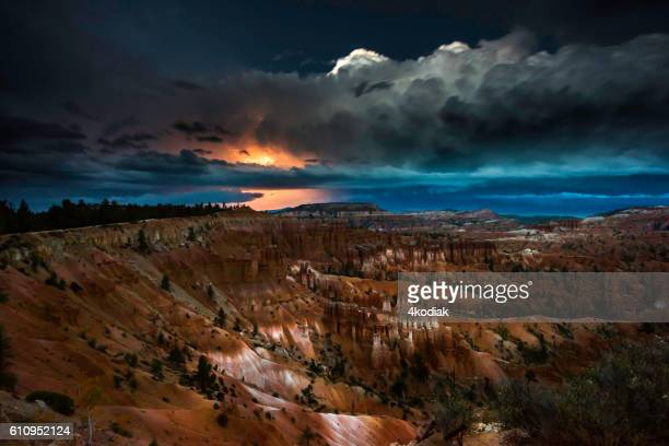 thunderstorm with lightning in bryce canyon - bryce canyon stock pictures, royalty-free photos & images