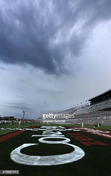 Thunderstorms approach Daytona International Speedway several hours before the scheduled start of the Coke Zero 400 NASCAR Sprint Cup race on Sunday...