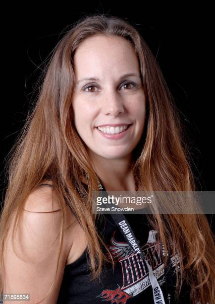 ThundHerStruck guitarist Carin Toti poses backstage at Route 66 Casino's Legends Theater on August 5 2006 in Albuquerque New Mexico The allgirl AC/DC...