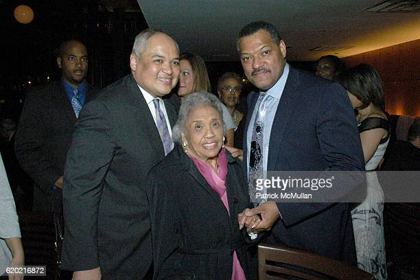 Thurgood Marshall Jr Cecilia Suyat Marshall and Laurence Fishburne attend PostShow Celebration for THURGOOD at Bryant Park Grill on April 30 2008 in...