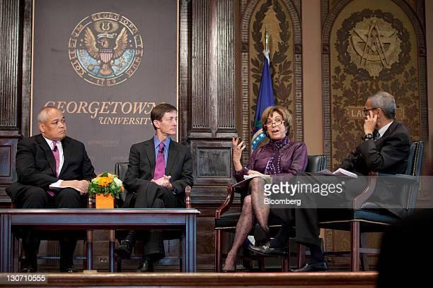 Thurgood Marshall Jr former cabinet secretary under President Bill Clinton left to right Bruce Reid chief of staff to US Vice President Joe Biden and...