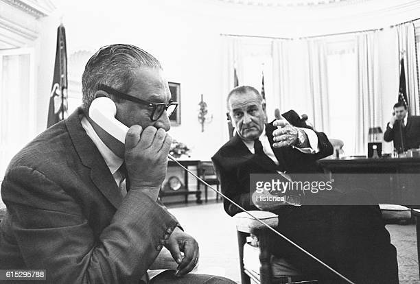 Thurgood Marshall the first African American Supreme Court Justice calls his wife on the Oval Office telephone to let her know of his nomination...