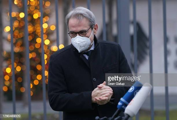 Thuringia state Interior Minister Georg Maier arrives to speak to the media outside the Federal Ministry of Interior during a hybrid meeting of...