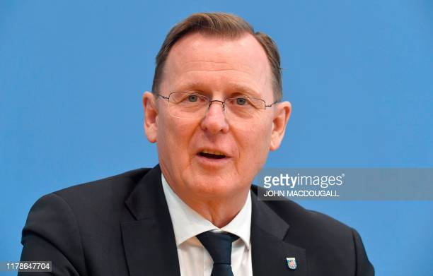 "Thuringia's State Premier and top candidate of the left-wing ""Die Linke"" party Bodo Ramelow gives a press conference in Berlin on October 28 one day..."