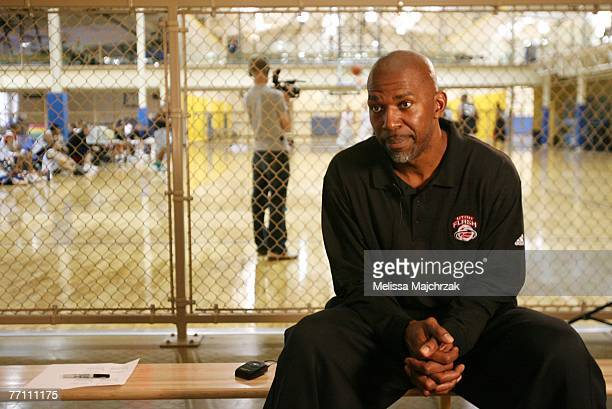 Thurl Bailey former player for the Utah Jazz gives an interview during the try outs for the Utah Flash DLeague team on September 29 2007 at the Open...