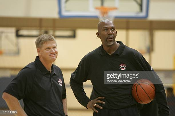 Thurl Bailey former Utah Jazz player and Head Coach Brad Jones of the Utah Flash speak during tryouts for the Utah Flash DLeague team on September 29...