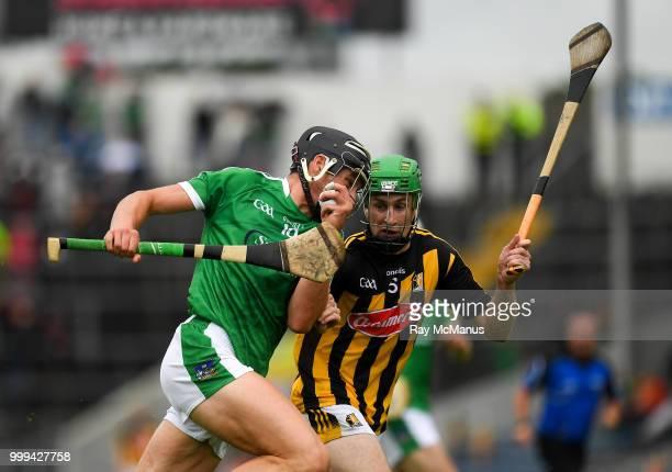 Thurles Ireland 15 July 2018 TJ Reid of Kilkenny in action against Sean Finn Dan Morrissey and Diarmaid Byrnes of Limerick during the GAA Hurling...
