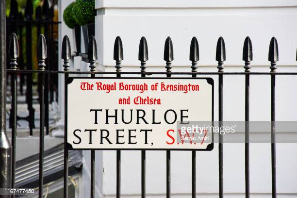 thurloe street sign - railings stock pictures, royalty-free photos & images