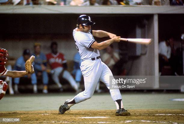 Thurman Munson of the New York Yankees and the American League All-Stars bats against the National League All-Stars during Major League Baseball...