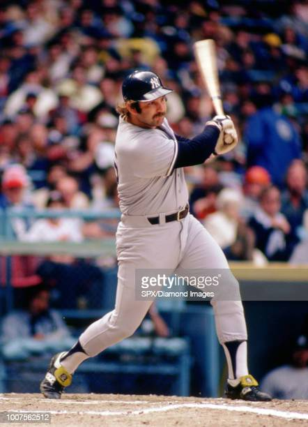 Thurman Munson of the New York Yankees at bat during a game from the 1979 season. Thurman Munson played for 11 years all with the Yankees, was a...