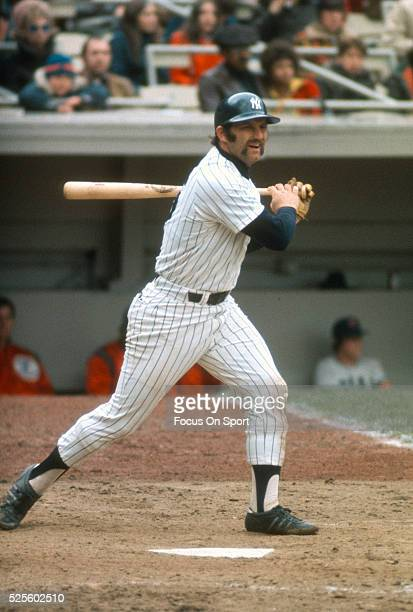 Thurman Munson of the New York Yankees bats against the Boston Red Sox during an Major League Baseball game circa 1975 at Shea Stadium in the Queens...