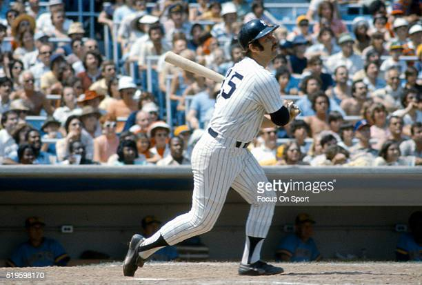Thurman Munson of the New York Yankees bats against the Milwaukee Brewers during an Major League Baseball game circa 1976 at Yankee Stadium in the...