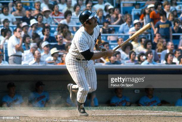 Thurman Munson of the New York Yankees bats against the Minnesota Twins during an Major League Baseball game circa 1977 at Yankee Stadium in the...