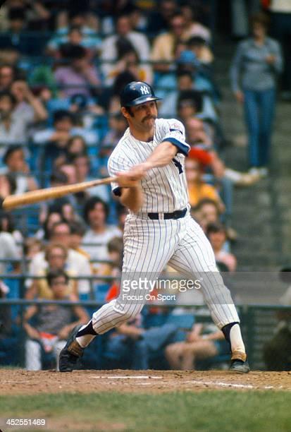 Thurman Munson of the New York Yankees bats during an Major League Baseball game circa 1972 at Yankee Stadium in the Bronx borough of New York City....