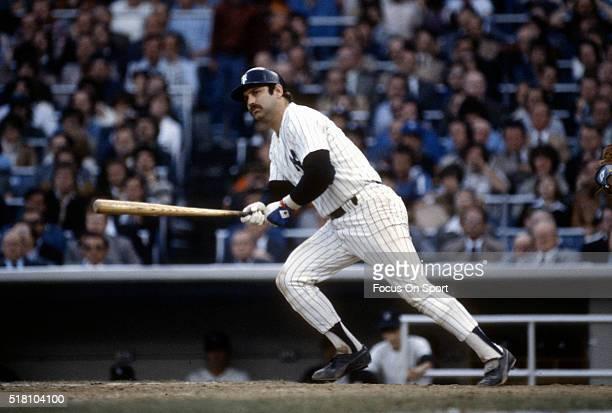 Thurman Munson of the New York Yankees bats during an Major League Baseball game circa 1975 at Yankee Stadium in the Bronx borough of New York City....