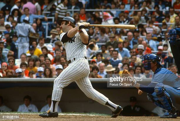 Thurman Munson of the New York Yankees bats during an Major League Baseball game circa 1978 at Yankee Stadium in the Bronx borough of New York City....