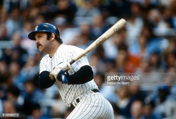 Thurman Munson of the New York Yankees bats during an Major League Baseball game circa 1979 at Yankee Stadium in the Bronx borough of New York City....