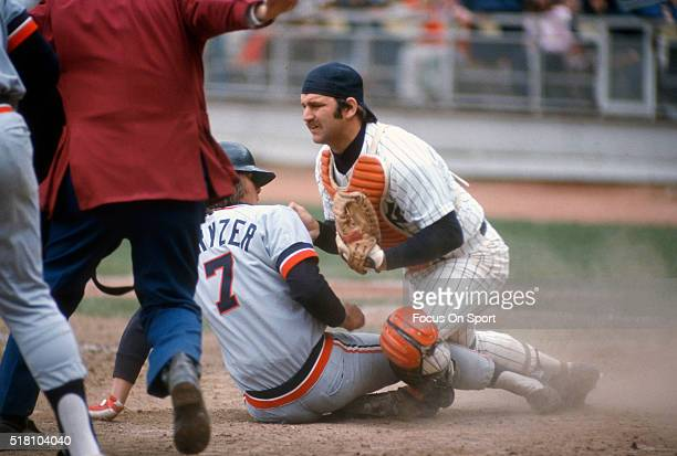 Thurman Munson of the New York Yankees in action against the Detroit Tigers during an Major League Baseball game circa 1975 at Shea Stadium in the...