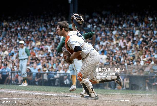 Thurman Munson of the New York Yankees in action against the Oakland Athletics during an Major League Baseball game circa 1969 at Yankee Stadium in...