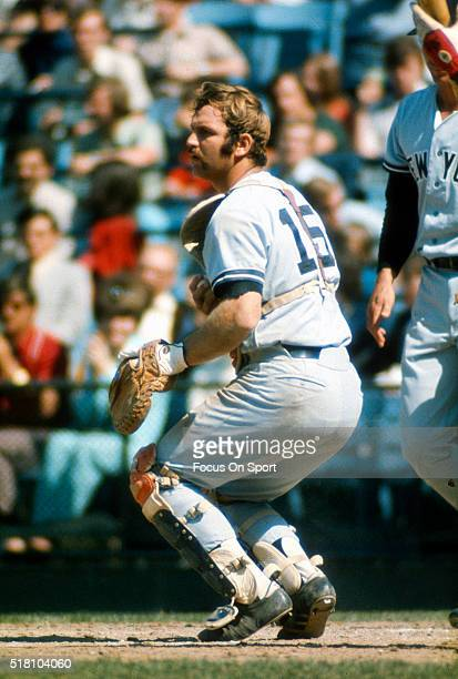 Thurman Munson of the New York Yankees in action against the Baltimore Orioles during an Major League Baseball game circa 1972 at Memorial Stadium in...