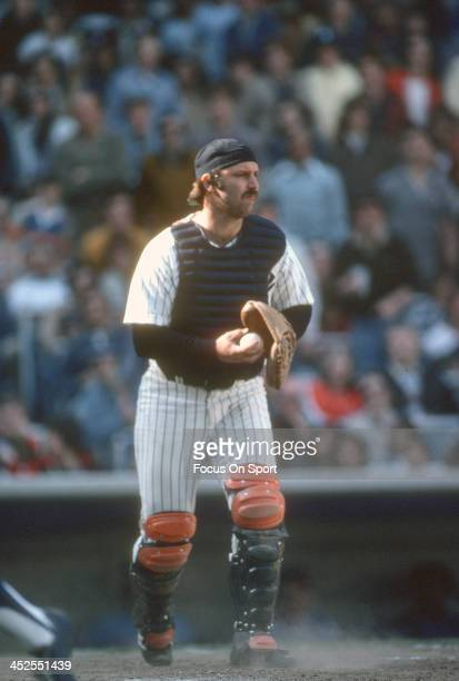 Thurman Munson of the New York Yankees in action during an Major League Baseball game circa 1977 at Yankee Stadium in the Bronx borough of New York...