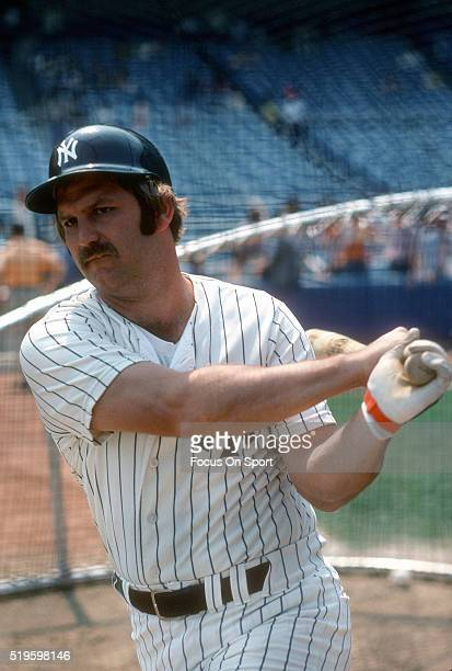 Thurman Munson of the New York Yankees swings the bat warming up during batting practice prior to the start of a Major League Baseball game circa...