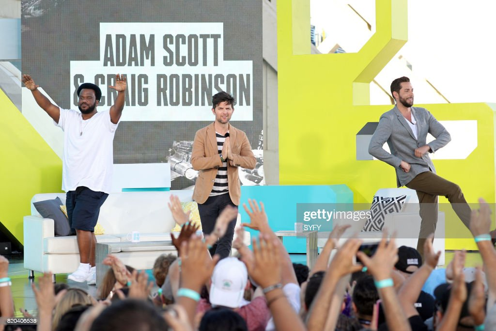 CON -- Thursday, July 20th, 2017 -- Pictured: (l-r) Craig Robinson, Adam Scott, and Zachary Levi --
