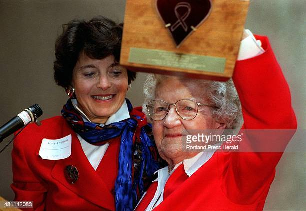 MILTON Thursday October 3 1996 Frances Peabody acknowledges the applause after being presented with the Kerry A Carson Memorial award by Mary Herman...