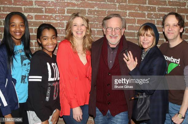Thursday Williams, Rosdely Ciprian, Playwright/Performer Heidi Schreck, Steven Spielberg, Kate Capshaw and Mike Iveson pose backstage at the hit play...