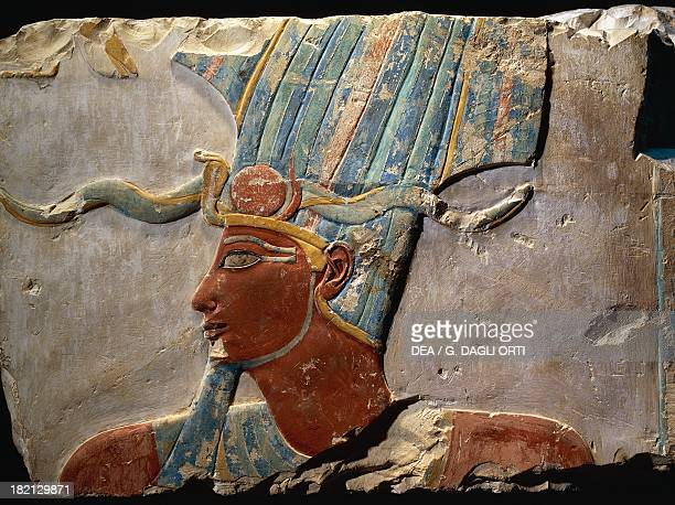 Thutmose III with the Atef crown painted limestone relief from the temple of Deir elBahari Egyptian civilisation New Kingdom Dynasty XVIII Luxor...