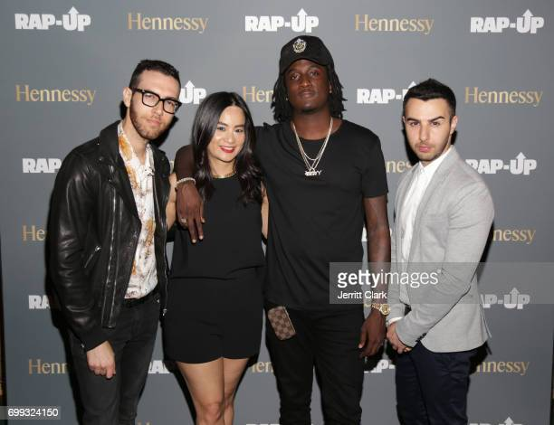 ThuyAnh J Nguyen Hennessy West Coast Marketing Manager and K Camp pose with RapUp Founders Devin Lazerine and Cameron Lazerine at the RapUp 3rd...