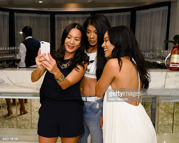ThuyAnh J Nguyen Mila J and Karrueche Tran attend the RapUp PreBET awards dinner presented by Hennessy at Hotel BelAir on June 21 2016 in Los Angeles...