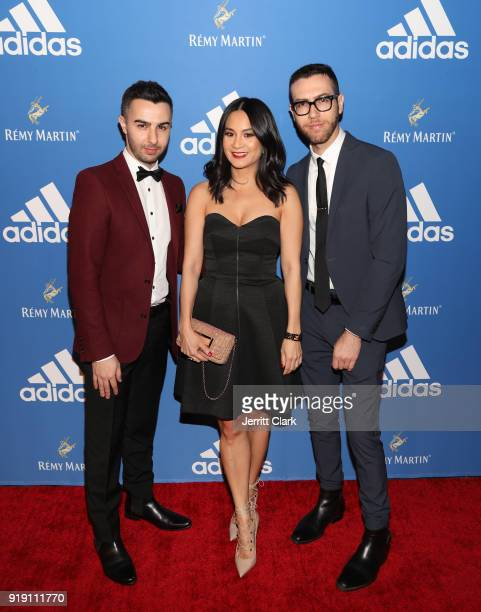ThuyAnh J Nguyen poses with RapUp Founders Cameron Lazerine and Devin Lazerine attend the Adidas Basketball Black Tie Party Presented by Remy Martin...