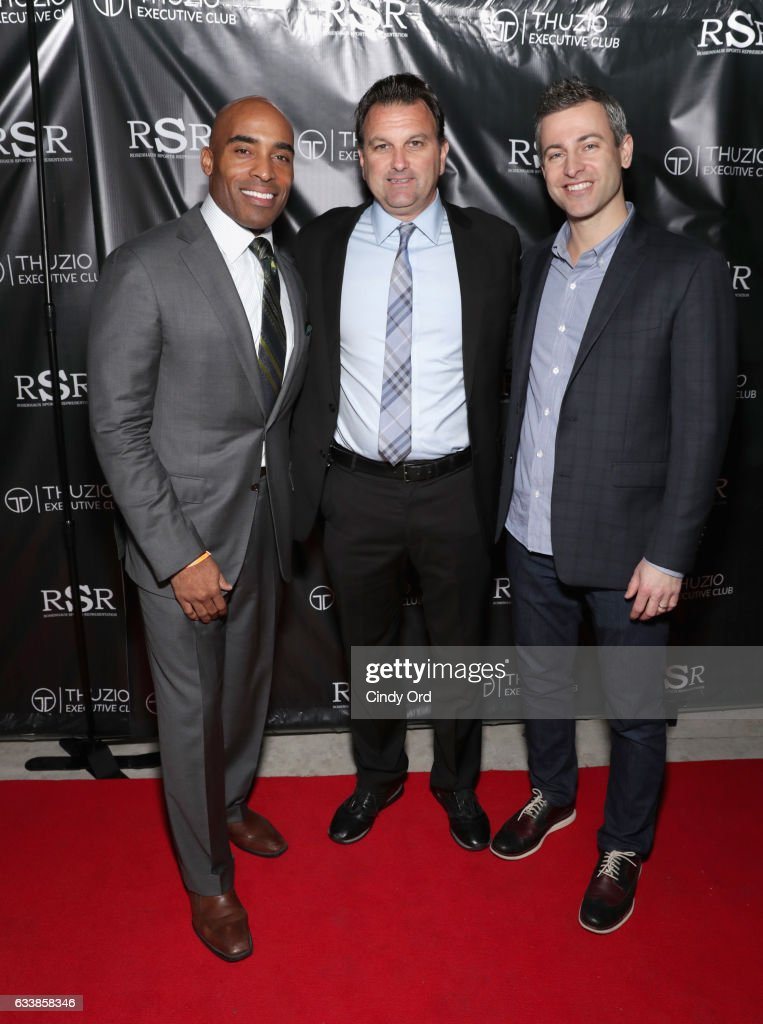 Thuzio Executive Club co-founder and host Tiki Barber, host Drew Rosenhaus and CEO of Thuzio Executive Club Jared Augustine arrive at the Thuzio Executive Club and Rosenhaus Sports Representation Party at Clutch Bar during Super Bowl Weekend, on February 4, 2017 in Houston, TX.