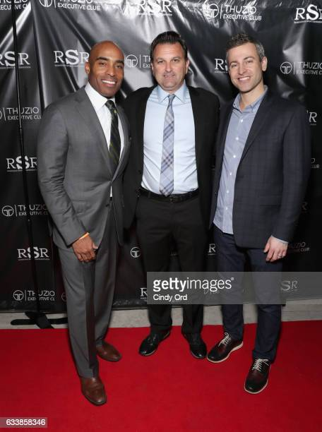 Thuzio Executive Club co-founder and host Tiki Barber, host Drew Rosenhaus and CEO of Thuzio Executive Club Jared Augustine arrive at the Thuzio...