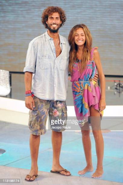 Thyago Alves and Giorgia Palamas attend L'Isola Dei Famosi The Final on April 26 2011 in Milan Italy